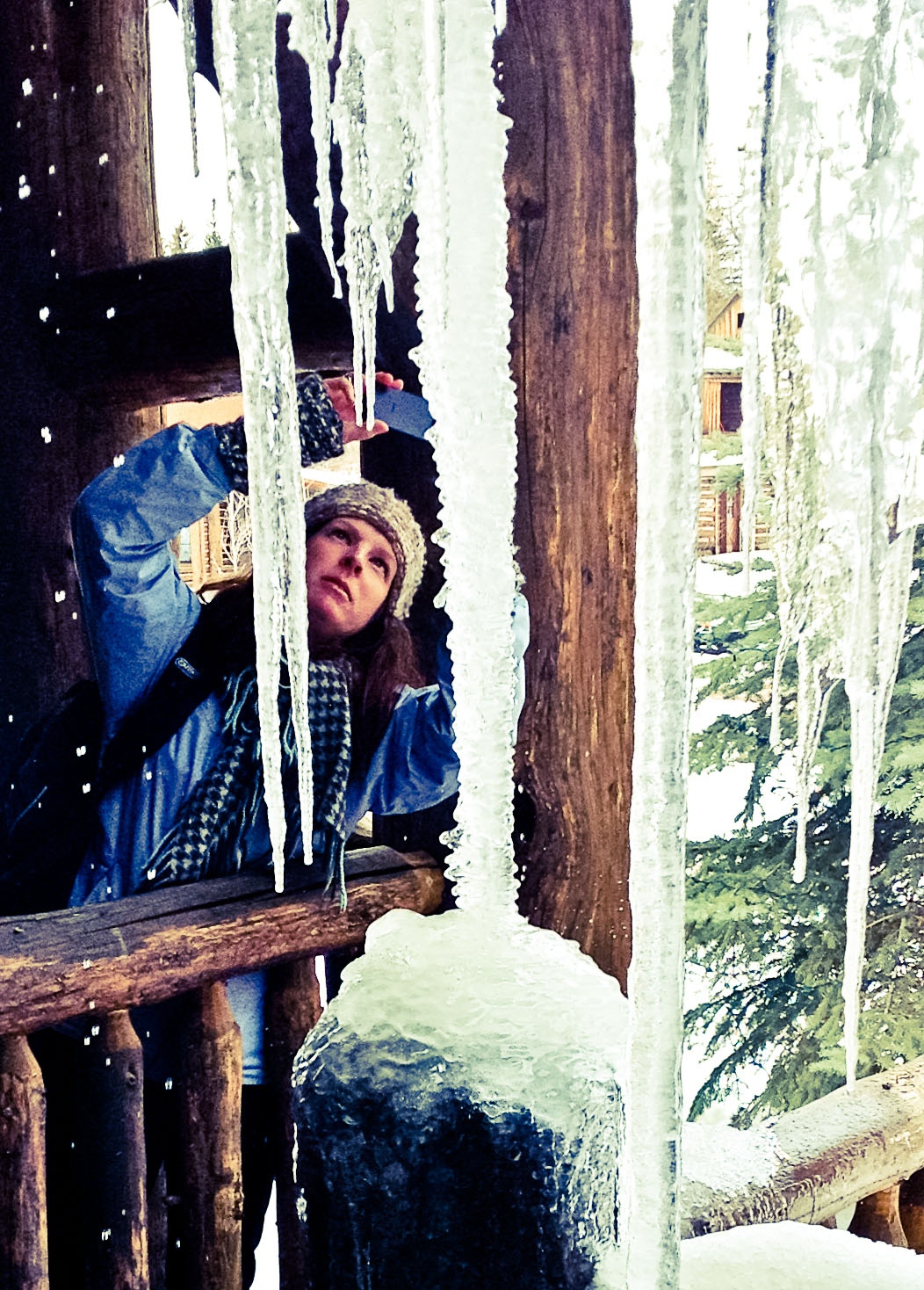 Michelle photographing icicles in Wyoming (Photo by Anne Connel)