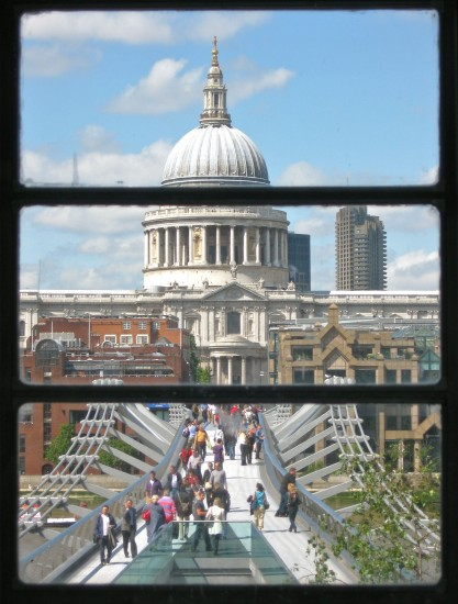 View of Millennium Bridge from the third level gallery
