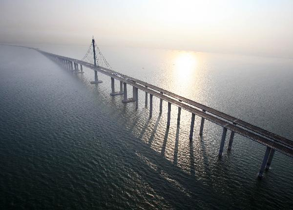 The Jiaozhou Bay Bridge in China