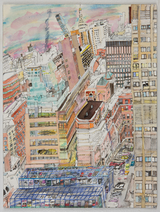 """Olive Ayhens, Sweet Sky, 2007, watercolor and ink on paper 16"""" x 12.5"""" (Image Courtesy Adam Baumgold Gallery, Click to Enlarge)"""