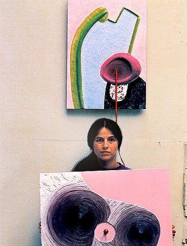 Artist Eva Hesse in her studio