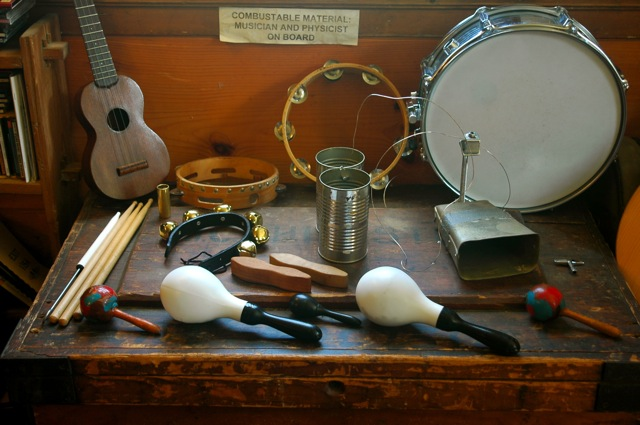 tambourine, ukulele, tin cans, glockenspiel, bells, drumsticks