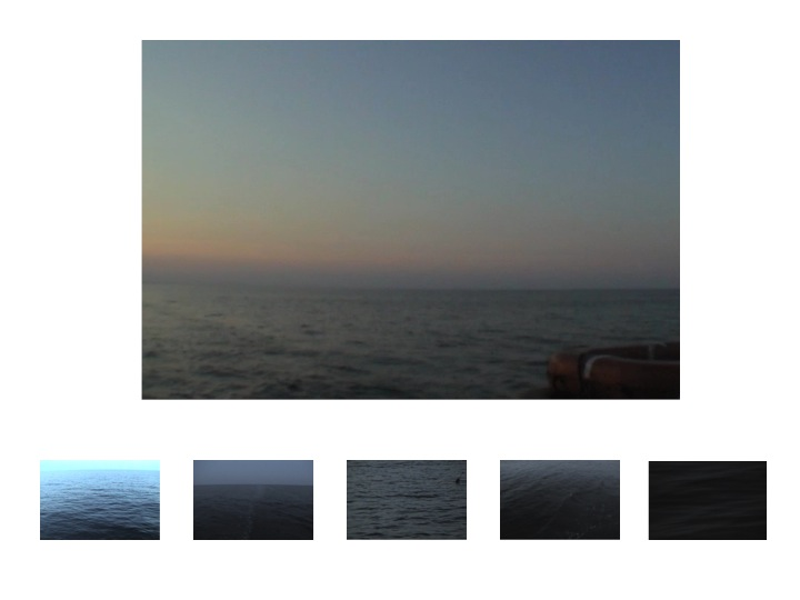 """Jean Marie Casbarian, """"Bury Me At Sea"""" (in 5 shades of blue), 2010. Video stills. 24 x 36 inches"""