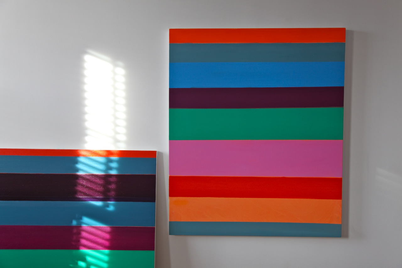 Paintings by Kim Uchiyama in her Tribecca Studio (Photo by Michelle Aldredge)