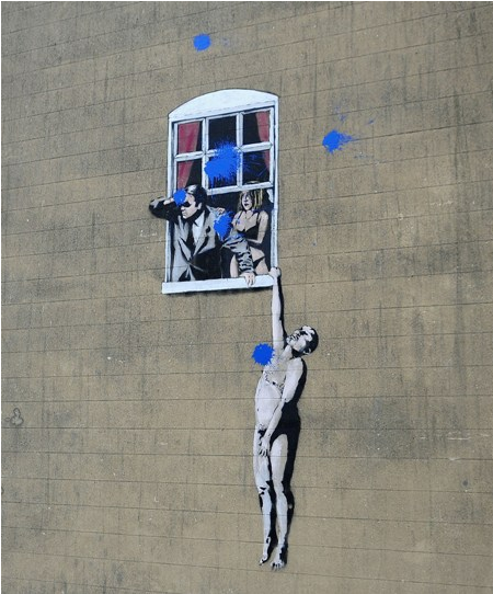 Arch prankster or art genius 52 art works by british for Banksy mural painted over