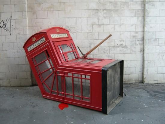 Banksy-phone box