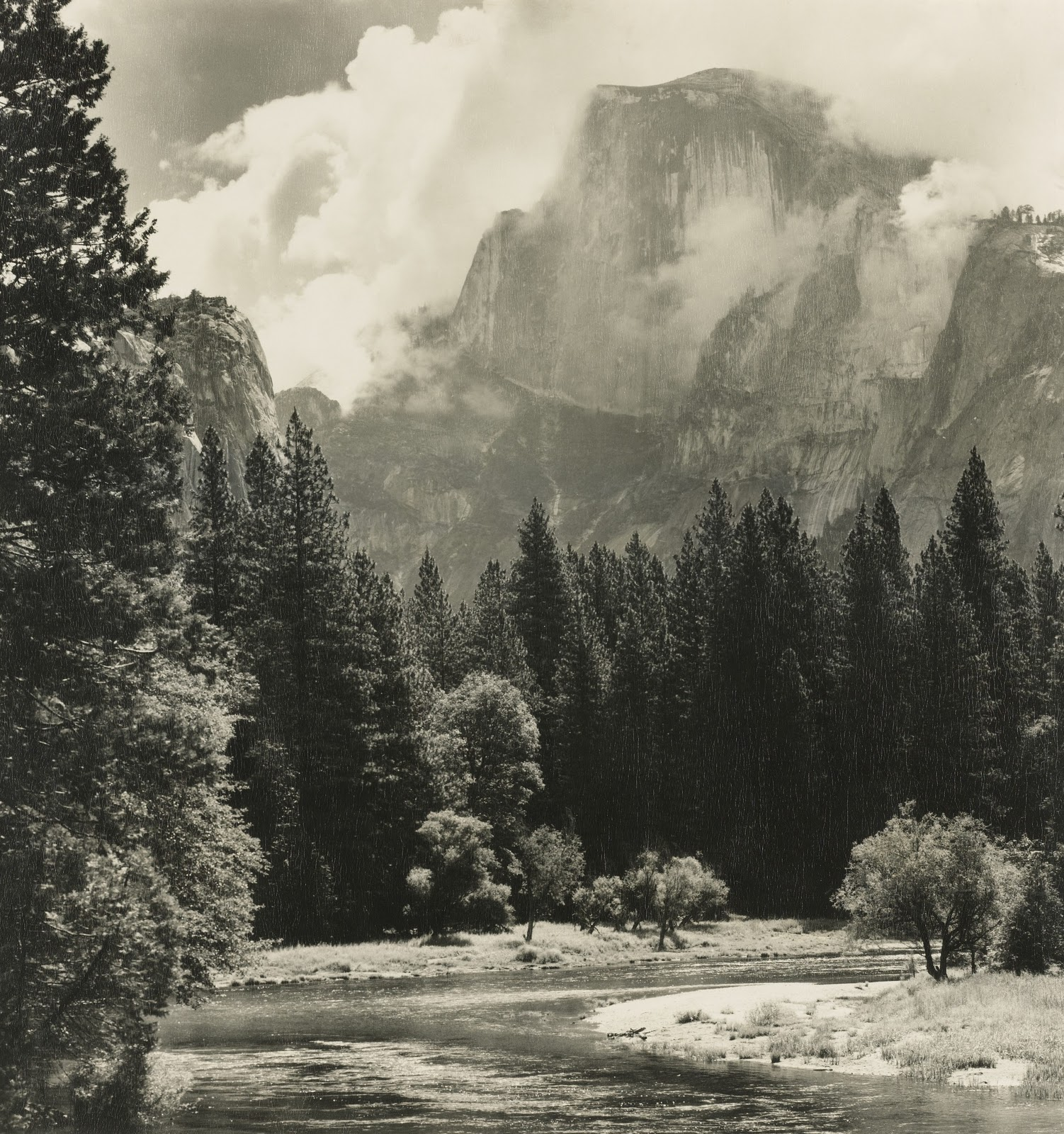 Ansel Adams, Half Dome, Merced River. Mural sized (Photo courtesy Sotheby's-Click to Enlarge)