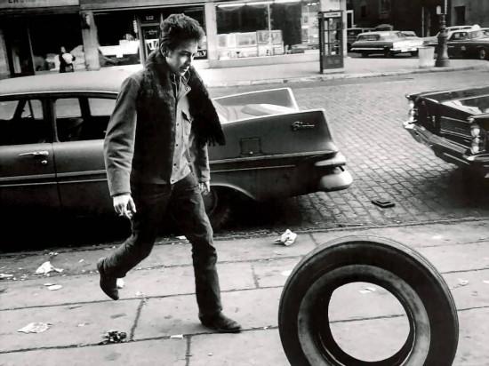 Bob Dylan Chasing a Tire