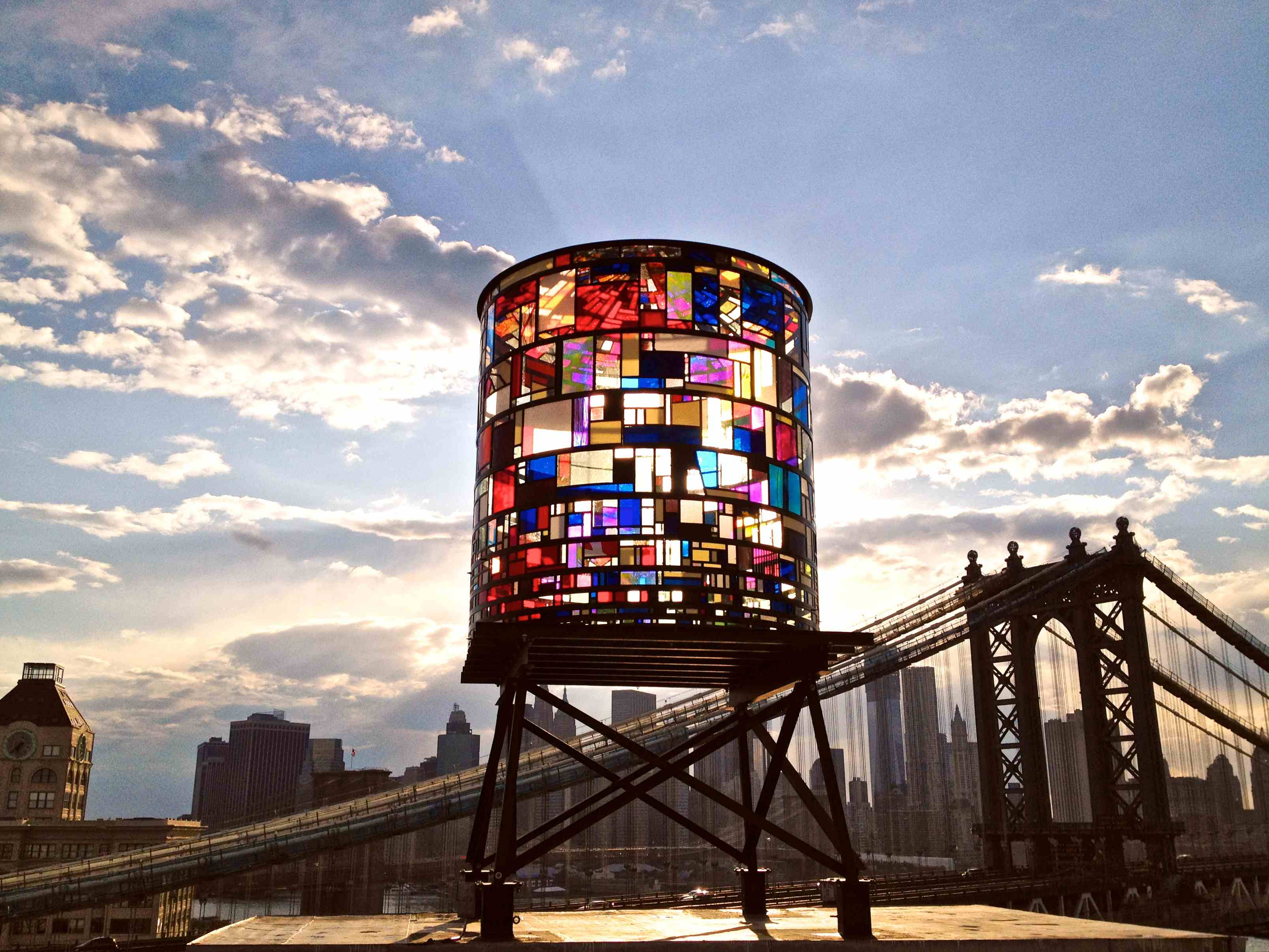 """Watertower"" by Tom Fruin is now on view in DUMBO (Photo by Robert Banat courtesy Tom Fruin)"