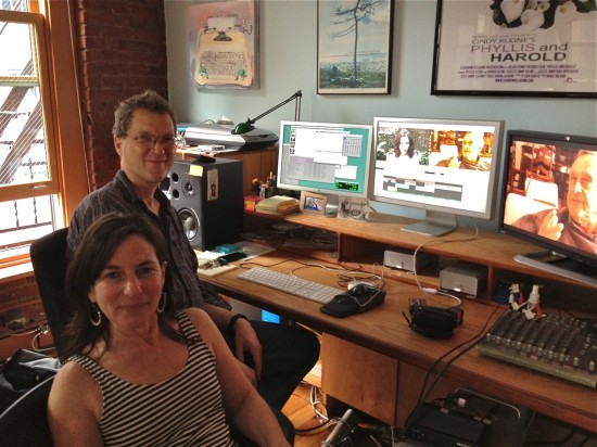 Filmmaker Cindy Kleine and editor Jonathan Oppenheim in Kleine's Tribecca studio (Photo courtesy Cindy Kleine and Atlas Theatre Company)