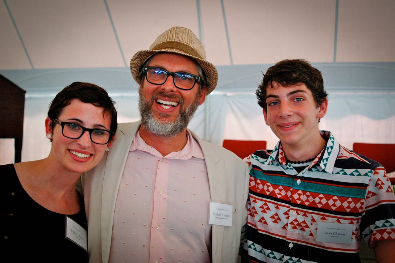 Pulitzer-Prize-winning writer and MacDowell Chairman Michael Chabon with his daughter Sophie and son Zeke at Medal Day 2012 (Photo by Michelle Aldredge)