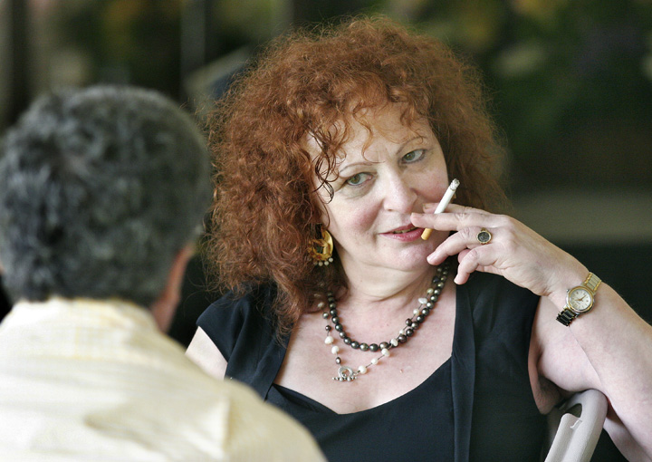 Nan Goldin takes a cigarette break (Photo Michael Moore/The Keene Sentinel)