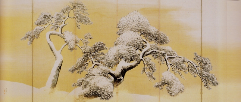 Maruyama Ōkyo, Pine Trees in Snow, between 1781 and 1789. (Image courtesy the Mitsui Memorial Museum.)