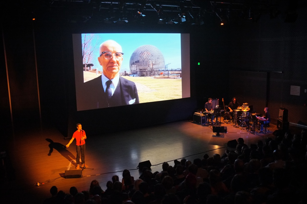 "Sam Green and Yo La Tengo performing the ""live documentary"" The Love Song of R. Buckminster Fuller at the ICA in Boston (Photo by Sam Allison. Click to Enlarge)"