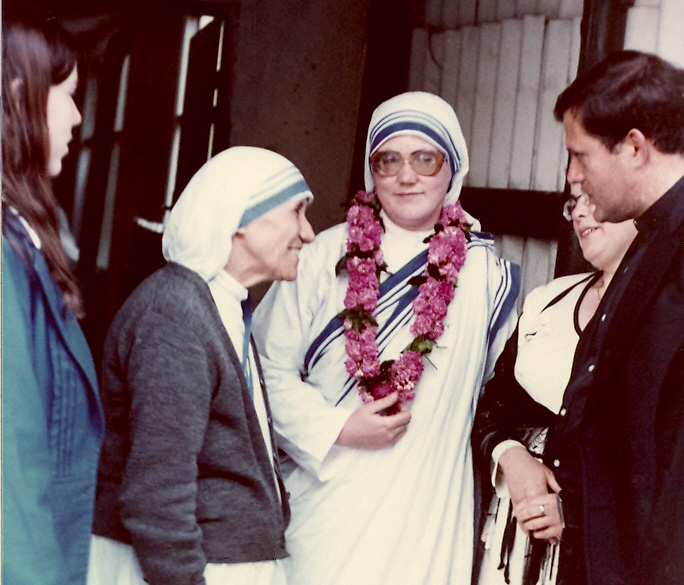 Sister Donata (Mary Johnson) with Mother Theresa (left) at her first profession of vows, in Rome, June 8, 1980 (Courtesy)