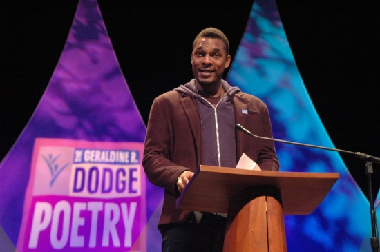 Writer Terrance Hayes  at the Geradline R. Dodge Poetry Festival in 2012 (Photo by Michelle Aldredge)