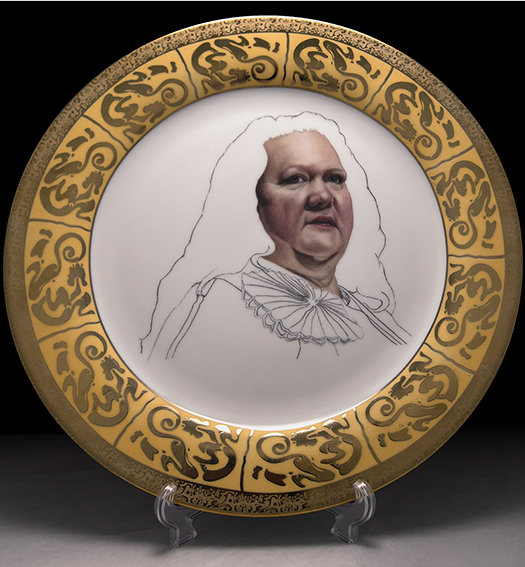 A commemorative plate from Michael Wallace's series Guess Who's Coming to Lunch (More Important People We Can't Afford to Know)