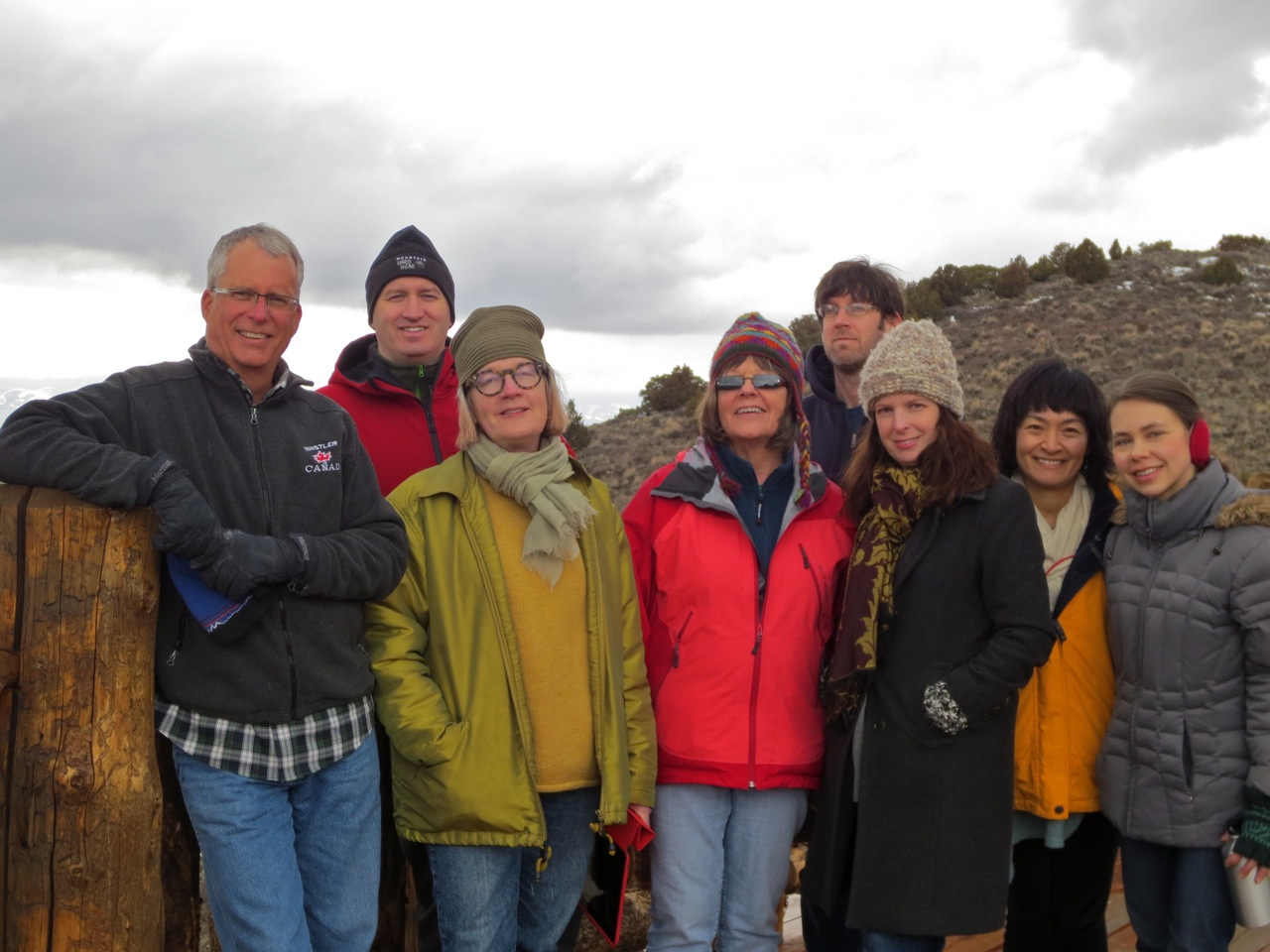 The artists in residence at Brush Creek Foundation for the Arts in Saratoga, Wyoming. From left to right: Visual artist Roger Feldman, composer Jeffrey Roberts, painter Anne Connell, poet Kate Kingston, interdisciplinary artist Corwin Levi, writer Michelle Aldredge, and composer Eun Young Lee (Photo by Beth Nelson)