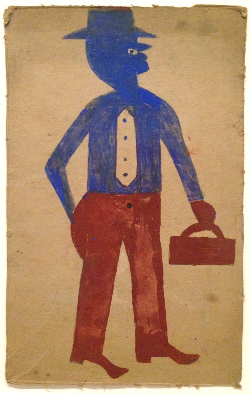 Bill Traylor, Brown and Blue Man with Suitcase, c. 1939-42. Opaque watercolor over graphite on gray/tan cardboard, 13 x 8 1/4 inches. (Photo by Michelle Aldredge from The Jill and Sheldon Bonovitz Collection at the Philadelphia Museum of Art)