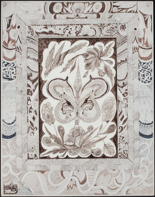 Butterfly Fantasy. Ballpoint pen ink over graphite on two sheets of gray/tan cardboard faced with cream-colored paper (one with cut window opening), 28 x 22 inches (Photo courtesy the Philadelphia Museum of Art's Tumbler page)