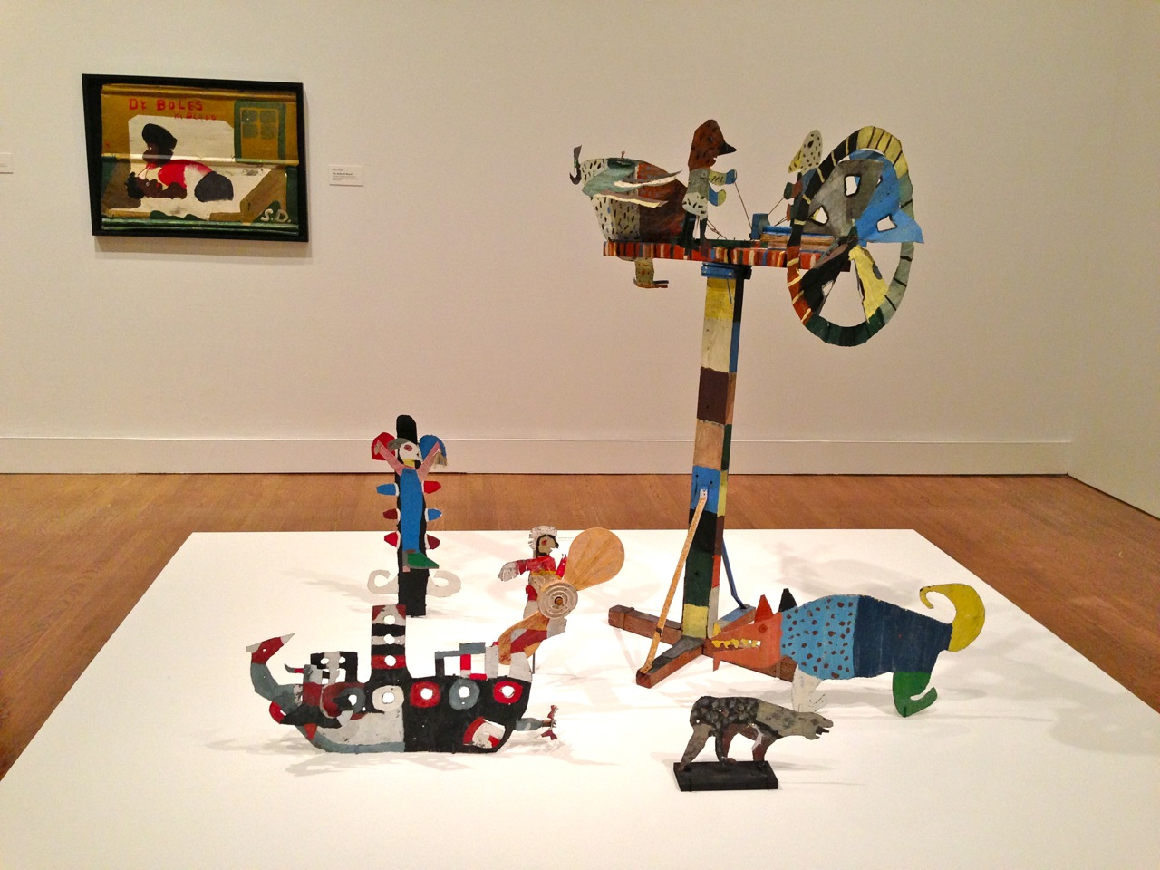 David Butler's whirligigs, critters, and a crucifix are made of galvanized iron, house paint, nails, wire and other everyday materials. (Photo by Michelle Aldredge from The Jill and Sheldon Bonovitz Collection at the Philadelphia Museum of Art)