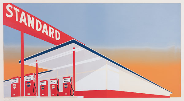 """Standard Station"" (1966), a screenprint from the exhibit ""Ed Ruscha: Standard"" at the Rose Art Museum"