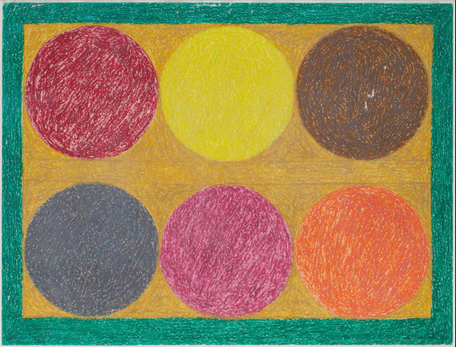 Eddie Arning, Six Colored Circles. Oil pastel over graphite on cream paper, 18 x 24 inches. (Photo by Will Brown courtesy the Philadelphia Museum of Art, The Jill and Sheldon Bonovitz Collection)