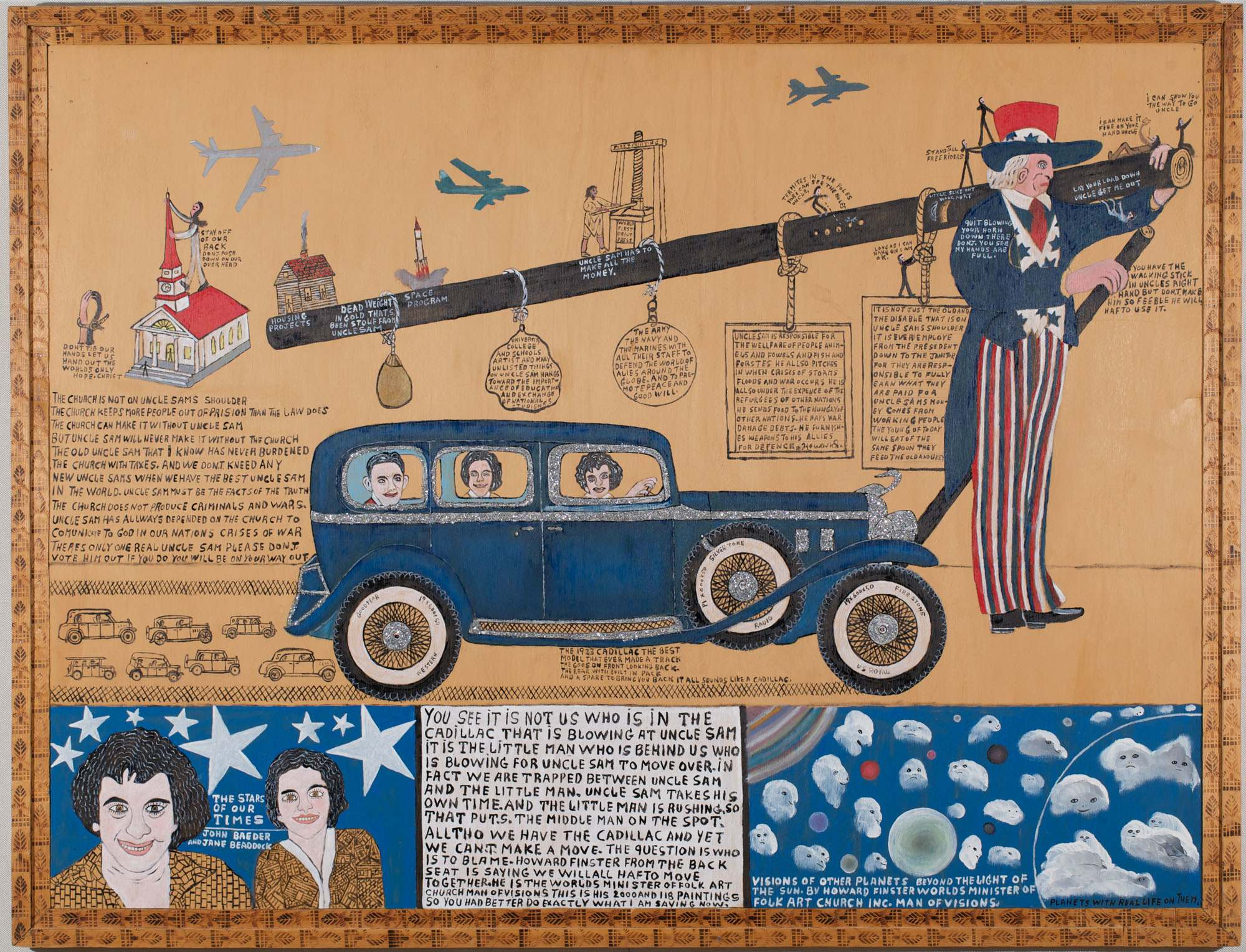 "Howard Finster, Quit Blowing Your Horn Down There. Don't You See My Hands Are Full,"" #2, 118, 1981. Paint and glitter on plywood; artist-made frame of Douglas fir branded with artist-made metal stamps, 39-1/4 x 51-1/4 inches with frame. (Photo by Will Brown  courtesy of the Philadelphia Museum of Art, The Jill and Sheldon Bonovitz Collection)"