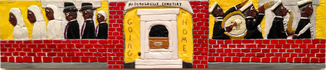 Herbert Singleton,Going Home: McDonoghville Cemetery. Alkyd industrial paint, including metallic paint, on carved red cedar with yellow pine batons, 12 3/4 x 60 inches.