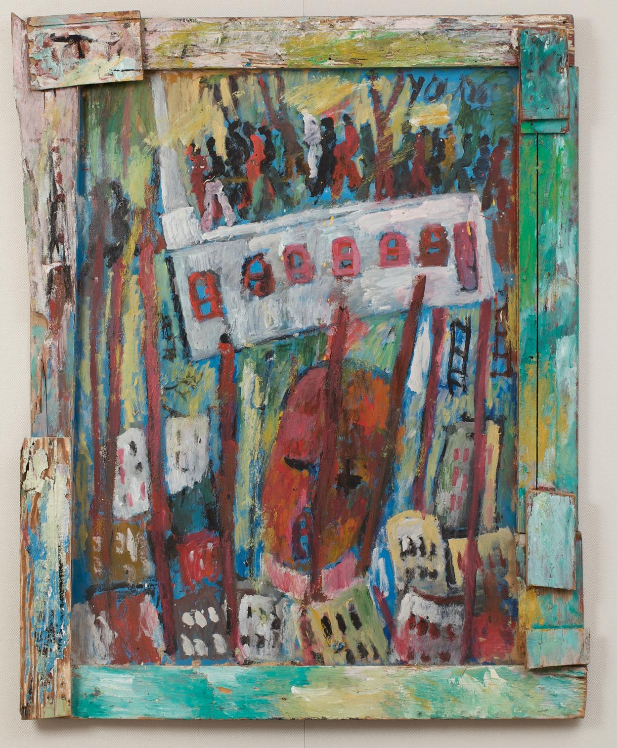Purvis Young, Jail Was Heat. Paint on weathered Masonite with nailed-on pieces of various types of weathered scrap wood, including yellow pine and plywood, 43 x 34 inches. (Photo by Will Brown courtesy the Philadelphia Museum of Art, The Jill and Sheldon Bonovitz Collection)