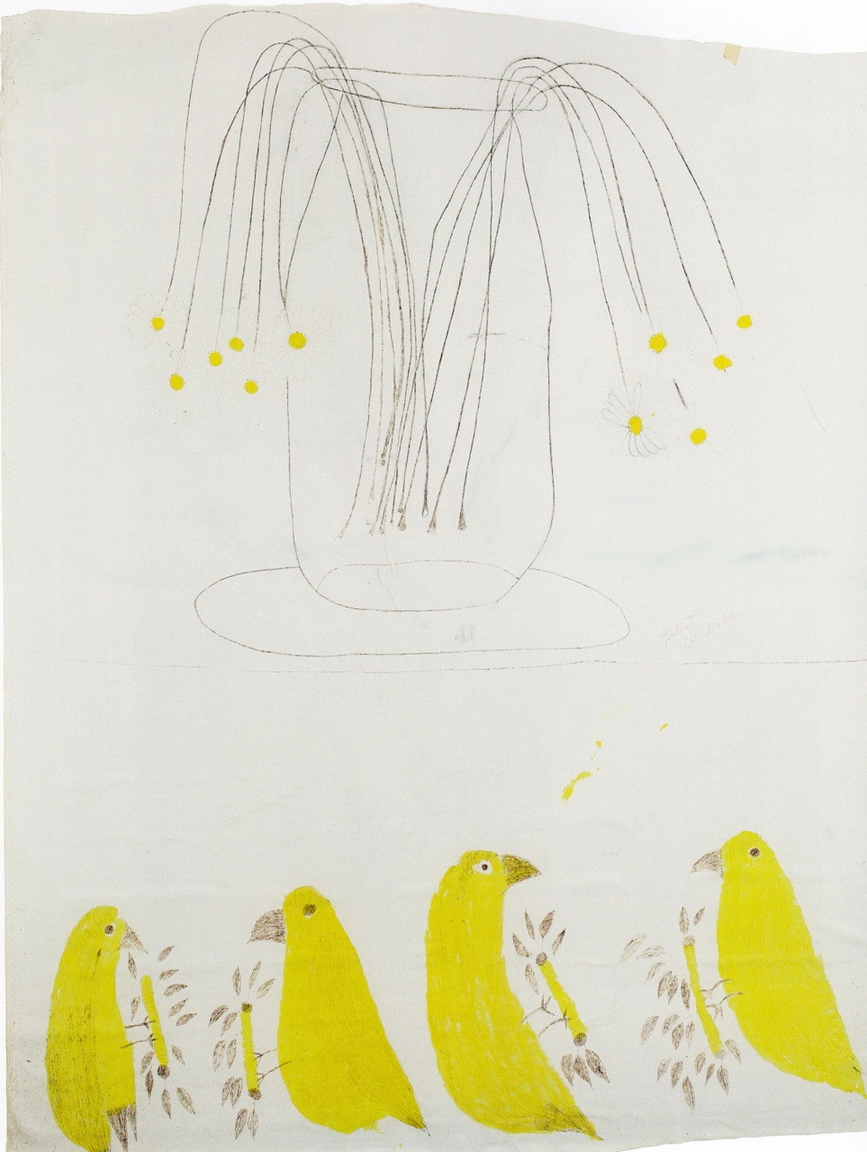 Lee Godie, Yellow Birds and Daisies. Opaque watercolor and ballpoint pen ink on primsed canvas 74 x 58 1/2 inches