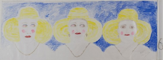 Lee Godie, Three Women with Big Yellow Hats. Opaque watercolor and ballpoint pen ink over graphite on primed canvas (section of window shade), 21 1/2 x 59 1/2 inches. (Photo courtesy the Philadelphia Museum of Art's Tumblr page. Click to Enlarge)