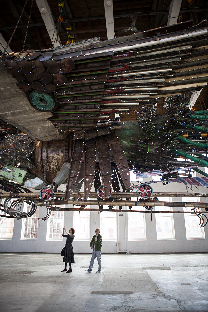 A close-up view of Xu Bing's Phoenix, on view at Mass MoCA through the end of October (Photo by Greta Rybus via Word of Mouth)