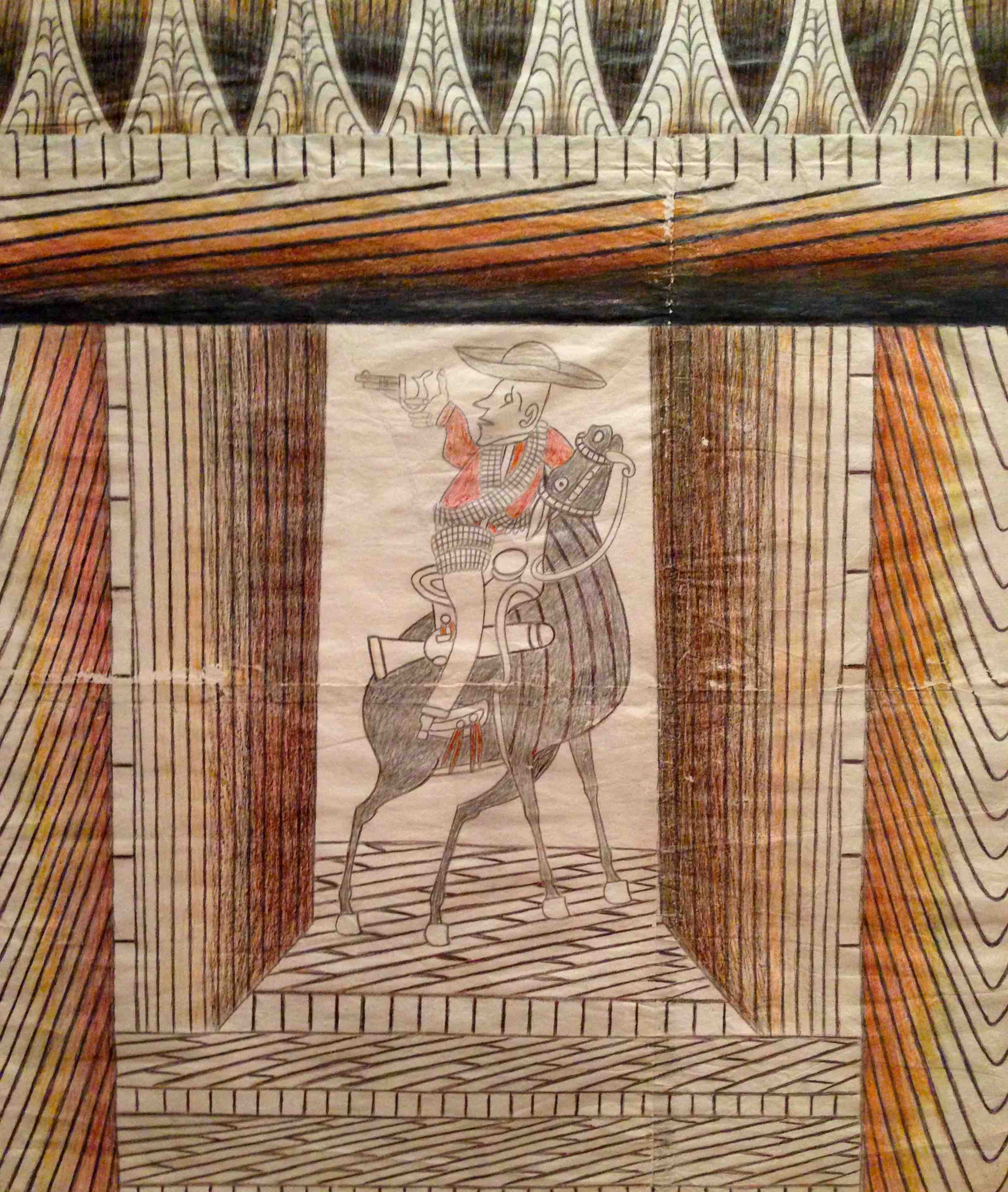 Martin Ramirez, Horse and Rider, Detail. Wax crayon, graphite, and unidentified artist-made black inks on pieced papers, 42 1/2 x 34 3/4 inches. (Photo by Michelle Aldredge from The Jill and Sheldon Bonovitz Collection at the Philadelphia Museum of Art)