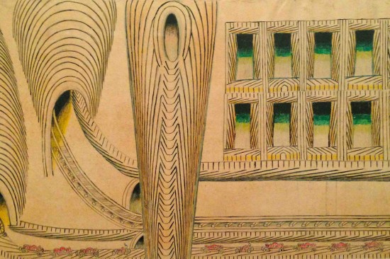 Martín Ramírez, Trains, Cars, Tunnels, and Windows, 1953 (Detail). Graphite, wax, crayon, and water-based paint and ink on single sheet of paper, 23-3/4 x 90 inches. (Photo by Michelle Aldredge from The Jill and Sheldon Bonovitz Collection from the Philadelphia Museum of Art )