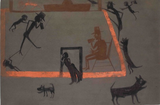 Men Drinking, Boys Tormenting, Dogs Barking, c. 1939-42 Bill Traylor, American Opaque watercolor on card with dark gray prepared surface Sheet: 14 1/4 x 21 3/4 inches (36.2 x 55.2 cm) Framed: 24 3/4 x 31 3/4 inches (62.9 x 80.6 cm) (The Jill and Sheldon Bonovitz Collection courtesy the Philadelphia Museum of Art)
