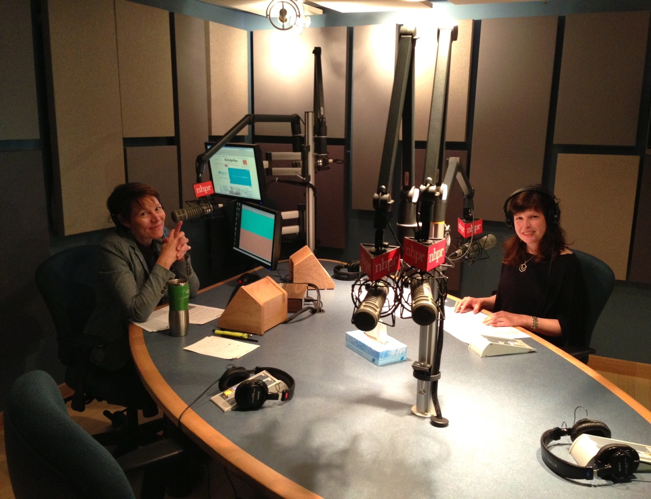 Word of Mouth host Virginia Prescott and Michelle just before their live segment on NHPR (Photo by Taylor Quimby)