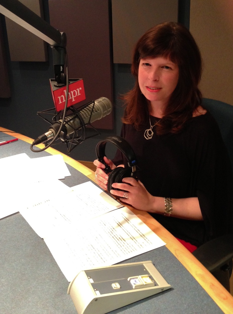 Michelle in the New Hampshire Public Radio studios (Photo by Taylor Quimby)