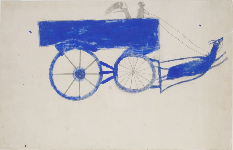 Bill Traylor, Runaway Goat Cart, c. 1939-42. Opaque watercolor and graphite on cream card, 14 x 22 inches. (Photo by Will Brown courtesy the Philadelphia Museum of Art, The Jill and Sheldon Bonovitz Collection)