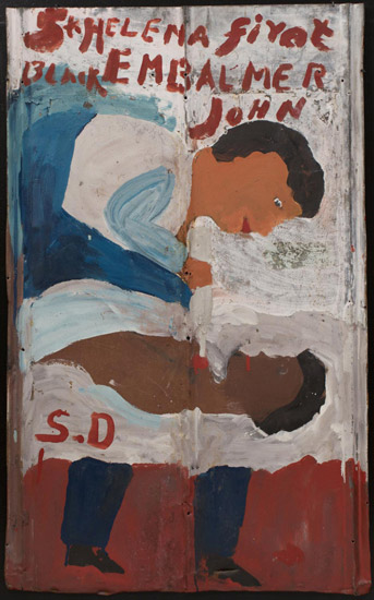 Sam Doyle, St. Helena First Black Embalmer John. Reused, corrugated, galvanized iron sheet; paint; remains of horizontal caulk line, 41 x 25 inches. (Photo courtesy The Jill and Sheldon Bonovitz Collection from the Philadelphia Museum of Art Tumblr page)