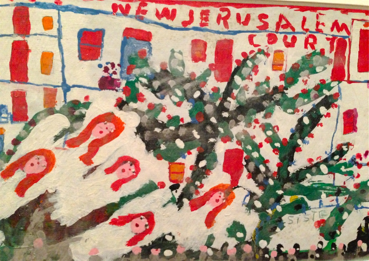 Sister Gertrude Morgan,  New Jerusalem Court, detail. Graphite, ballpoint pen ink, and paint on plastic with textured surface (possibly vinyl shelf liner), 13 x 71 inches. (Photo by Michelle Aldredge from tThe Jill and Sheldon Bonovitz Collection at the Philadelphia Museum of Art)