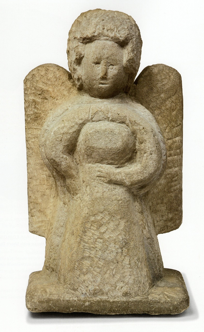 William Edmonson, Angel. Limestone, 22 x 12 1/2 x 7 inches. (Photo by Will Brown courtesy the Philadelphia Museum of Art, The Jill and Sheldon Bonovitz Collection)
