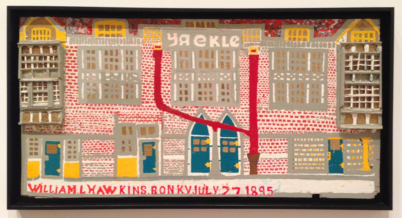 William Hawkins, Yaekle Building. Alkyd house paint on reused plywood, with cardboard pieces and scrap woods, 34 x 69 1/2 inches (Photo by Michelle Aldredge from The Jill and Sheldon Bonovitz Collection at the Philadelphia Museum of Art)