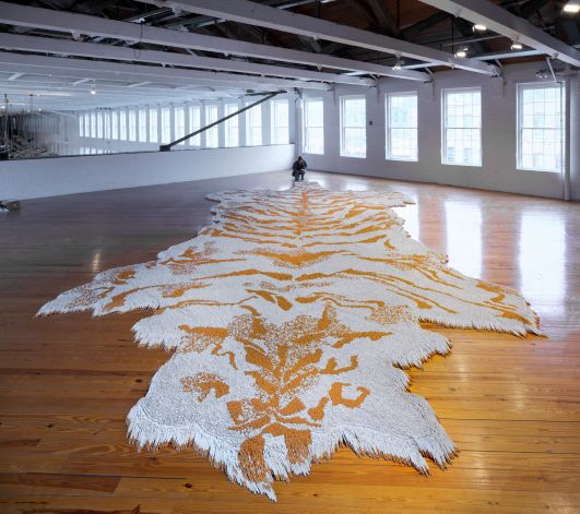 It took half a million cigarettes to make Xu Bing's 1st Class. Check it out in the mezzanine of Mass MoCA's Building 5 gallery. (Photo courtesy Mass MoCA)