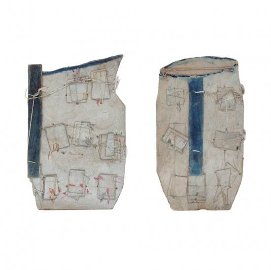 James Castle, Blue-Handled Pitcher (two versions shown). Thing gray/tan cardboard; cut, torn, and folded; punched, stitched and tied with thick and thin white string; blue and white washes; yellow, red magenta, green, and brown wax crayon; traces of graphite, 11 x 6 inches (left) and 10 1/2 x 6 1/4 inches (right). PHOTO CAPTION