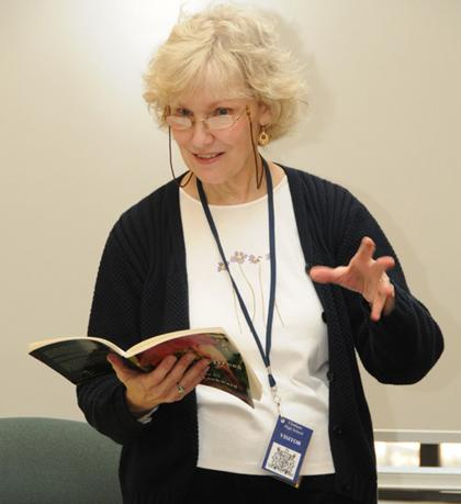 Poet Diane Lockward of West Caldwell, New Jersey, discusses her work at Chatham High School (Photo by Stephen Briggs)