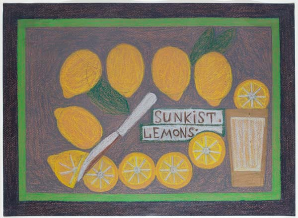 Eddie Arning, Sunkist Lemons. Oil pastel over graphite on tan paper, 15 3/4 x 21 1/2 inches. Bill Traylor, Brown and Blue Man with Suitcase, c. 1939-42. Opaque watercolor over graphite on gray/tan cardboard, 13 x 8 1/4 inches. (Photo by Will Brown from The Jill and Sheldon Bonovitz Collection courtesy the Philadelphia Museum of Art)