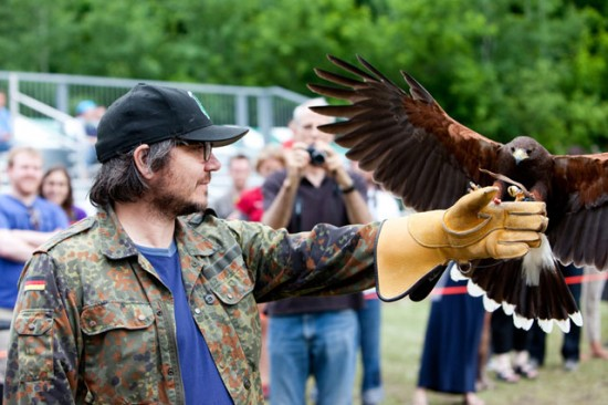 Wilco front man Jeff Tweedy with a raptor at the 2011 Solid Sound Festival (Photo by Austin Nelson courtesy  Solid Sound)