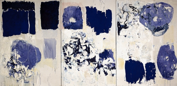 Joan Mitchell, Les Bluets, 1973. 110 1/2 x 228 1/4 in. © Estate of Joan Mitchell; Centre Pompidou, Musee national d'art moderne