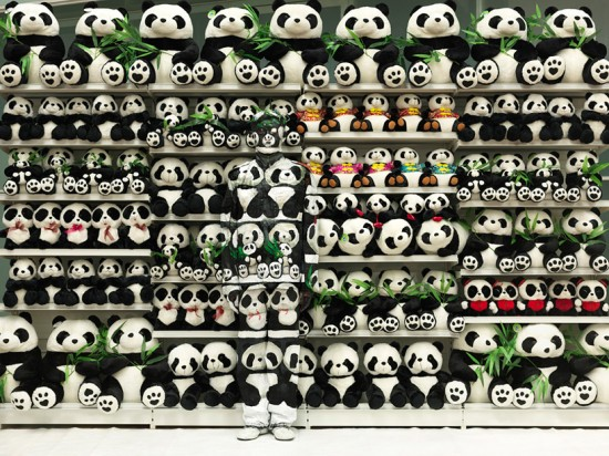Liu Bolin, Hiding in the City No. 99 - Panda, 2011. 46 1/2 x 59 inches (Photo courtesy Eli Klein Fine Art , New York and Liu Bolin)